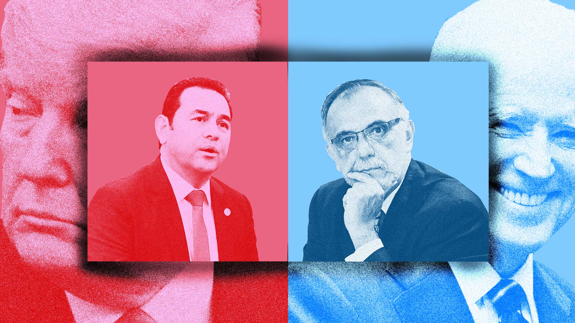 Photo illustration of a split image, with Jimmy Morales and Donald Trump in the background on the left side and Ivan Velasquez and Joe Biden on the right side. The left side has a red overlay and the right side has a blue overlay.