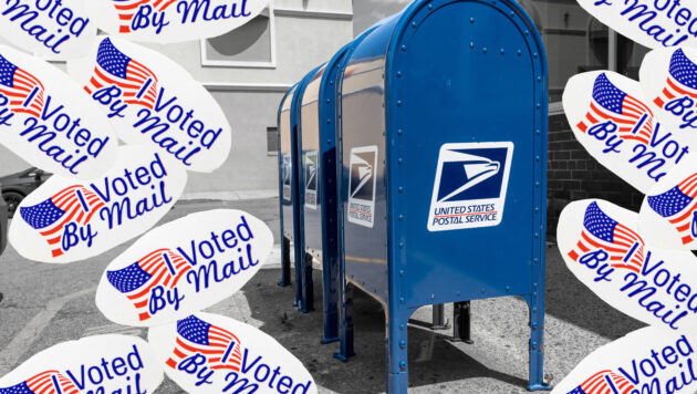 "A photo collage combines images of a USPS box and ""I voted by mail"" stickers"