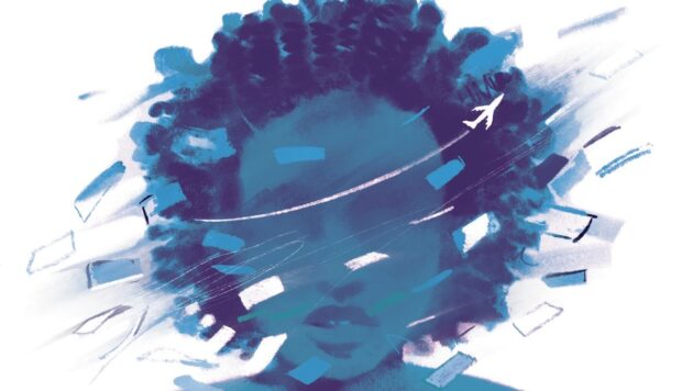 In an illustration, a small airplane circles a girl's head. Pieces of paper swirl around her head.