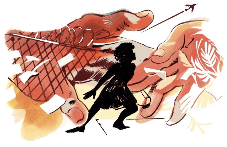 An illustration in a red and yellow tones shows a silhouette of a girl surrounded by hands that try to grab her, swirling papers, and a fence. In the background, a plane flies.