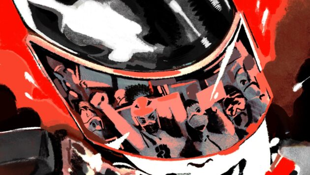 A red and black illustration shows protester reflected in the visor of a police officer's riot gear helmet