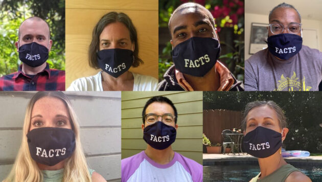 A photo collage shows seven employees of Reveal wearing face masks that say Facts.