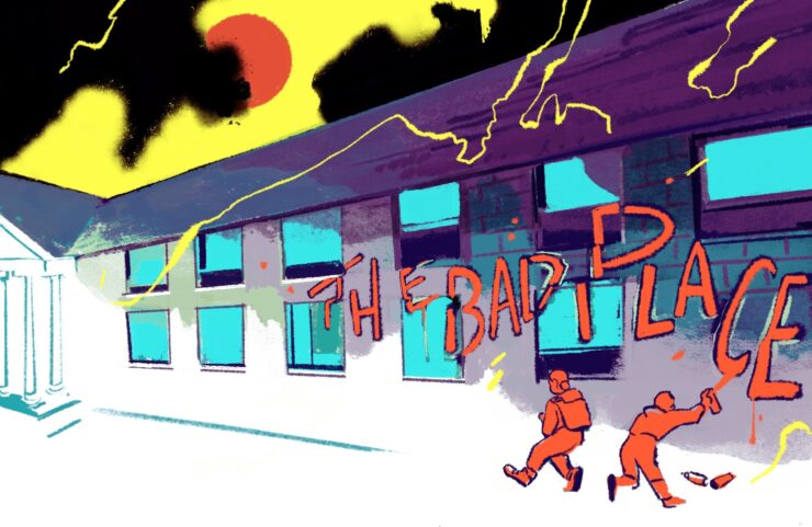 An illustration shows a colorful depiction of a building in purple and gray. Kids paint the phrase The Bad Place on the side of the building.