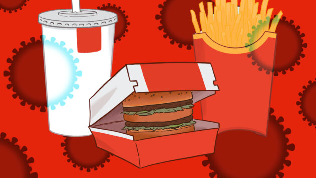 A graphic illustration shows a burger in a cardboard box, a container of french fries and a soft drink, overlaid with images of viruses.