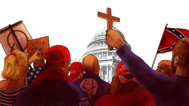 """An illustration shows a group of people from behind facing the U.S. Capitol. Among them are people holding up a cross, a Confederate flag and a sign that reads, """"Stop the steal."""""""